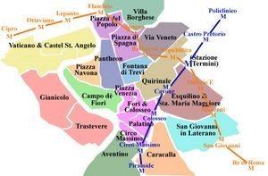 La mia esperienza a Roma, cartina della città